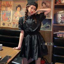 Fashion suit Summer 2021 Average size Black shirt, black skirt 18-25 years old