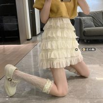skirt Summer 2021 Average size Apricot, white, black Short skirt commute High waist Cake skirt Solid color Type A 18-24 years old 30% and below other other Korean version