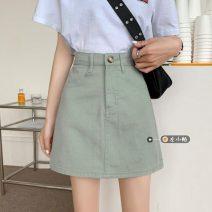 skirt Summer 2021 S,M,L Mint Milk Green Short skirt commute High waist A-line skirt Solid color Type A 18-24 years old Korean version