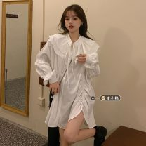 Dress Spring 2021 White, black Average size Short skirt singleton  Long sleeves commute Double collar High waist Solid color Single breasted A-line skirt puff sleeve Others 18-24 years old Type A Korean version Pleating 30% and below other