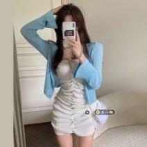 Fashion suit Summer 2021 Average size White knitting skirt, black knitting skirt, pink knitting skirt, blue knitting skirt, white cardigan, blue cardigan 18-25 years old