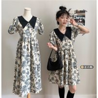 Dress Summer 2021 Short, long Average size Mid length dress singleton  Short sleeve commute Polo collar High waist Broken flowers Socket A-line skirt puff sleeve Others 18-24 years old Type A Korean version 30% and below other other
