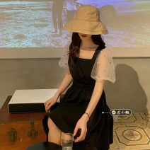 Dress Summer 2021 Picture color Average size Short skirt singleton  Short sleeve commute square neck Solid color Socket A-line skirt routine Others 18-24 years old Type A Korean version 30% and below other other
