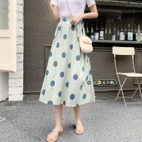 skirt Summer 2021 S, M Apricot, light green, light blue, white Mid length dress commute High waist A-line skirt Dot Type A 18-24 years old 30% and below other other Korean version