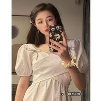 Dress Summer 2021 White, blue, black S, M Middle-skirt singleton  Short sleeve commute other High waist Solid color Socket A-line skirt other 18-24 years old Type A Korean version 30% and below other other