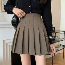 skirt Spring 2021 S,M,L,XL Khaki, black Short skirt commute High waist Pleated skirt Solid color Type A 18-24 years old fold Korean version