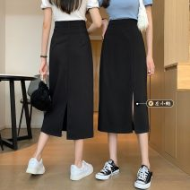 skirt Summer 2021 S,M,L Front split, rear split Mid length dress Versatile High waist A-line skirt Solid color Type A 18-24 years old 30% and below other other zipper