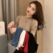 Wool knitwear Spring 2021 Average size White, red, blue, black, oatmeal Short sleeve singleton  Socket other 30% and below Regular routine Self cultivation Half height crew neck puff sleeve Solid color Socket 18-24 years old Other / other