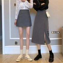 skirt Spring 2021 S,M,L Grey skirt, black skirt, grey skirt, black skirt Short skirt Versatile High waist A-line skirt Solid color Type A 18-24 years old other