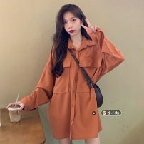 shirt Apricot, purple, orange Average size Spring 2021 other 30% and below Long sleeves commute Medium length Polo collar Single row multi button routine Solid color 18-24 years old Straight cylinder Korean version