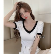 T-shirt White, black Average size Summer 2021 Short sleeve V-neck Self cultivation have cash less than that is registered in the accounts routine commute other 30% and below 18-24 years old Korean version youth Color matching