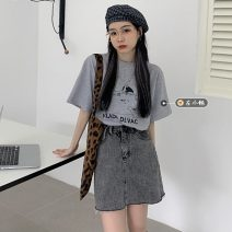 T-shirt Gray, white, black Average size Summer 2021 Short sleeve Crew neck easy Regular routine commute other 30% and below 18-24 years old Korean version youth Cartoon, animation, letters printing