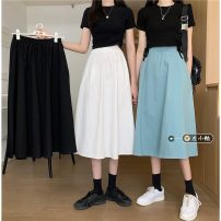 skirt Summer 2021 S,M,L,XL White, blue, black Mid length dress commute High waist A-line skirt Solid color Type A 18-24 years old Korean version