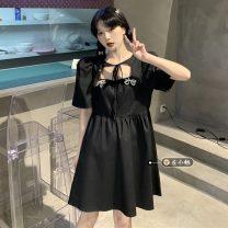 Dress Summer 2021 White, black Average size Middle-skirt singleton  Short sleeve commute square neck High waist Socket routine 18-24 years old Type A Korean version