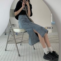 skirt Summer 2021 S,M,L,XL blue Mid length dress commute High waist Denim skirt Solid color Type A 18-24 years old 30% and below other other Korean version