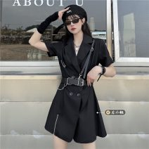 Dress Summer 2021 8224 black skirt S,M,L Short skirt singleton  Short sleeve commute tailored collar High waist Solid color double-breasted A-line skirt routine Others 18-24 years old Type A Korean version 30% and below other other