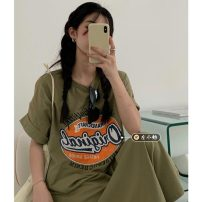 Dress Summer 2021 Bean paste green Average size longuette singleton  Short sleeve commute Crew neck Loose waist letter Socket A-line skirt routine Others 18-24 years old Type A Korean version printing 30% and below other other