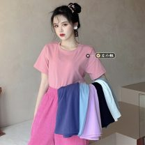 T-shirt Sky blue, light gray, white, pink, black, blue purple, pink purple Average size Summer 2021 Short sleeve Crew neck easy Regular routine commute other 30% and below 18-24 years old Korean version youth Solid color