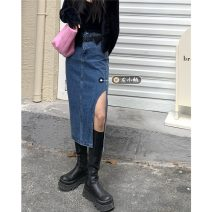 skirt Summer 2021 S,M,L Blue ( With belt) Mid length dress commute High waist A-line skirt Solid color Type A 18-24 years old 30% and below other pocket Retro