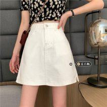 skirt Summer 2021 S,M,L,XL White, black Short skirt commute High waist Denim skirt Solid color Type A 18-24 years old Korean version