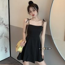 Dress Summer 2021 Yellow, black S,M,L Short skirt singleton  Sleeveless commute High waist Solid color routine camisole 18-24 years old Type A Korean version