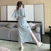 Dress Summer 2021 Grey, green Average size longuette singleton  Short sleeve commute Crew neck High waist letter Socket A-line skirt routine 18-24 years old Type A Korean version 30% and below other other
