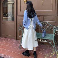 Dress Winter 2020 Beige skirt, blue sweater, black sweater S. M, l, average size Miniskirt singleton  Long sleeves commute Korean version