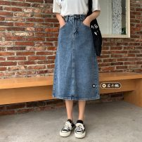 skirt Summer 2021 S,M,L,XL blue Mid length dress commute High waist A-line skirt Solid color Type A 18-24 years old 30% and below other other Korean version