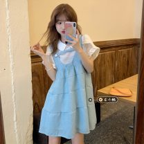 Fashion suit Summer 2021 Average size Blue vest skirt , White shirt 18-25 years old