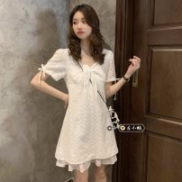 Dress Summer 2021 white Average size Short skirt singleton  Short sleeve commute square neck High waist Solid color Socket A-line skirt routine 18-24 years old Type A Korean version Lotus leaf edge 30% and below other other