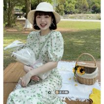 Dress Summer 2021 Picture color S, M Mid length dress singleton  Short sleeve commute Crew neck High waist Broken flowers Socket A-line skirt puff sleeve Others 18-24 years old Type H Korean version 30% and below other other