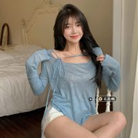 T-shirt blue Average size Spring 2021 Long sleeves other easy Regular routine commute other 30% and below 18-24 years old Korean version youth Solid color