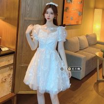 Dress Summer 2021 white S,M,L Short skirt singleton  Short sleeve commute square neck High waist Solid color Socket A-line skirt puff sleeve Others 18-24 years old Type A Korean version other other