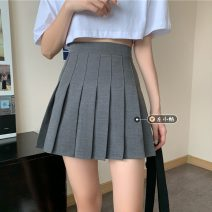 skirt Summer 2021 S,M,L Gray, black Short skirt commute High waist Pleated skirt Solid color Type A 18-24 years old Korean version