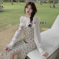 Dress Spring 2021 Dress Average size Mid length dress singleton  Long sleeves commute stand collar High waist Broken flowers Socket A-line skirt pagoda sleeve Others 18-24 years old Type A Korean version 30% and below other other