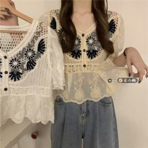 Lace / Chiffon Summer 2021 Apricot, white Average size Short sleeve commute Socket singleton  easy Regular V-neck other routine 18-24 years old Gouhua hollowed out, splicing Korean version 30% and below