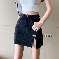 skirt Summer 2021 S,M,L,XL Light blue, black gray Short skirt commute High waist A-line skirt Solid color Type A 18-24 years old 30% and below other other Korean version