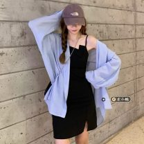 Fashion suit Summer 2021 18-25 years old White shirt, blue shirt, pink shirt, black suspender skirt S. M, one size fits all