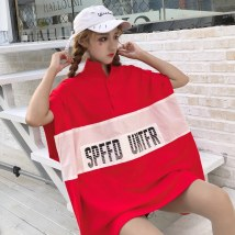 T-shirt Red and black Average size Summer of 2018 Short sleeve Polo collar easy Medium length routine commute cotton 96% and above 18-24 years old Korean version youth Color matching of letters Print stitching