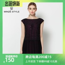 Dress Summer of 2019 black M,L,XL Middle-skirt singleton  Short sleeve Sweet other Loose waist stripe zipper Pleated skirt other Others 30-34 years old Minze style / Mingshi Road zipper 33S424153 Ruili