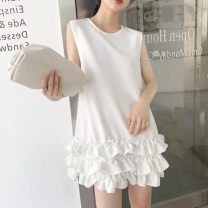 Dress Summer 2020 Black, white, apricot Average size Short skirt singleton  Sleeveless commute Crew neck Loose waist Solid color Socket other other Type H Other / other Simplicity Lotus leaf edge, fungus