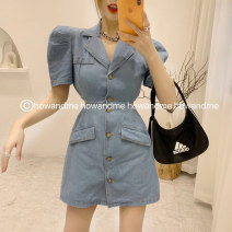 Dress Summer 2020 blue S,M,L Short skirt singleton  Short sleeve commute tailored collar High waist Solid color Single breasted A-line skirt other Type A Korean version Button 30% and below Denim