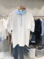 T-shirt White, green, pink S,M,L,XL Summer 2021 Short sleeve Polo collar Straight cylinder Regular routine commute other 51% (inclusive) - 70% (inclusive) 18-24 years old Korean version Solid color