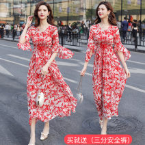 Dress Summer of 2019 Red flower, green flower M,L,XL,2XL Mid length dress singleton  Short sleeve commute V-neck middle-waisted Decor Socket A-line skirt pagoda sleeve Others 25-29 years old Type A Korean version Lace, lace 31% (inclusive) - 50% (inclusive) Chiffon