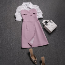 Dress Spring 2021 Black, apricot, pink M, L Short skirt Fake two pieces Short sleeve commute Polo collar High waist other Socket A-line skirt routine Others 25-29 years old Type A Korean version Button, stitching WQ1007 31% (inclusive) - 50% (inclusive) other