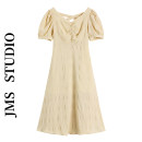 Dress Summer 2021 yellow S,M,L longuette singleton  Short sleeve commute V-neck High waist Solid color Socket A-line skirt puff sleeve Others 18-24 years old Type A Korean version 51% (inclusive) - 70% (inclusive) other other