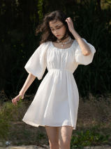 Dress Summer 2021 white XXS, XS, s, m, l, XXS second batch may 4, XS second batch may 4, s second batch may 4, m second batch may 4, l second batch may 4 Middle-skirt singleton  Long sleeves commute Crew neck Elastic waist Socket A-line skirt bishop sleeve 25-29 years old Type X Simplicity