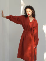 Dress Spring 2021 Cinnabar XXS,XS,S,M,L longuette singleton  Long sleeves Loose waist Solid color Socket routine 25-29 years old Type H More than 95% hemp
