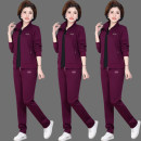 Middle aged and old women's wear Spring 2021, summer 2021, winter 2021, autumn 2021 leisure time suit easy Three piece set Cardigan moderate routine routine Baoman shark pocket cotton 81% (inclusive) - 90% (inclusive) zipper trousers