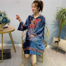 Dress Spring 2021 Royal Blue Average size Mid length dress singleton  Long sleeves commute Hood Loose waist Animal design Socket other routine Others 40-49 years old Type H Forests of Byzantium ethnic style Embroidery, pockets, stitching 91% (inclusive) - 95% (inclusive) other other